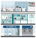 Bank and finance. Banners set, office, customer service, atm and reception Stock Photo