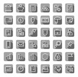 Bank, Finance, icons, gray, contour, vector. White outline drawing on gray background with shadow. Vector clip art Royalty Free Stock Photo