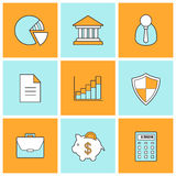 Bank finance linear icons set. Stock trading and exchange line symbols. Forex investment market color pictograms. Online banking customer service. Money Royalty Free Stock Photo
