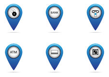 Bank and finance tag set for map. Bank and finance tag set for tourist's map Stock Photo