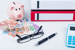 Bank and finances. Piggy bank with euro money and calculator Stock Photo