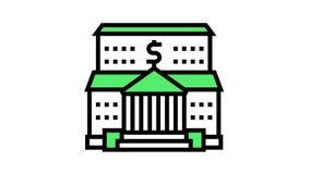 bank financial building color icon animation