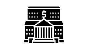 bank financial building glyph icon animation