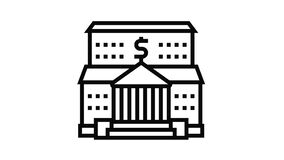 bank financial building line icon animation