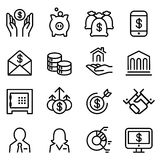 Bank & Financial icon set in thin line style. Bank Stock Image