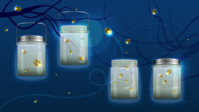 Bank fireflies set Royalty Free Stock Images
