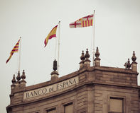 Bank flag Barcelona. Catalonia, Spain. Royalty Free Stock Photos