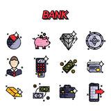 Bank flat icons set Stock Images