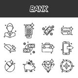 Bank flat icons set. Bank and finance flat icons set for website and mobile site and apps. Vector illustration, EPS 10 Stock Photos