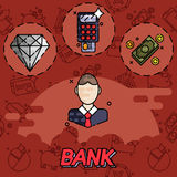 Bank flat icons set. Bank and finance flat icons set for website and mobile site and apps. Vector illustration, EPS 10 Royalty Free Stock Image