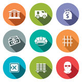 Bank flat icons set Royalty Free Stock Photo
