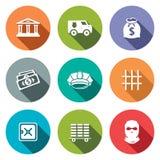 Bank flat icons set Royalty Free Stock Photo