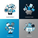 Bank flat set. Bank flat banner set with online payment time is money statistics managing funds isolated vector illustration Stock Photography