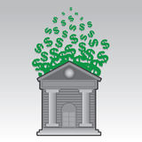 Bank Floating Dollar Signs Stock Image