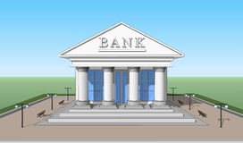 Bank främre sikt 02 Arkivfoto