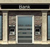 Bank gałąź z automatyzującą narrator maszyną Fotografia Royalty Free