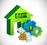 Bank and gears illustration design Royalty Free Stock Image