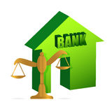 Bank and gold balance Royalty Free Stock Photography