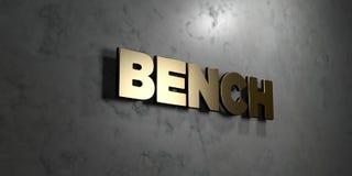 Bank - Goldzeichen angebracht an der glatten Marmorwand - 3D übertrug freie Illustration der Abgabe auf Lager Stockbilder