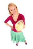bank gospodarstwa świnki kobieta Obraz Royalty Free