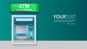 Bank gotówkowa maszyna ATM - Automatyzująca narrator maszyna z pustym ekranem i ostrożnie rysującymi szczegółami na białym tle Ilustracja Wektor