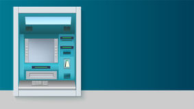 Bank gotówkowa maszyna ATM - Automatyzująca narrator maszyna z pustym ekranem i ostrożnie rysującymi szczegółami na białym tle Ilustracji