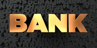 Bank - guld- text på svart bakgrund - 3D framförd fri materielbild för royalty Arkivfoton