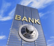 Bank head quarter. One 3d render of a bank headquarter with a safe dial coder. concept of security Stock Images