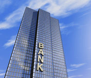 Bank headquarter. One 3d render of a skyscraper, headquarter of a bank Royalty Free Stock Photos