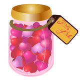 Bank with hearts. And the words on the label for you, a gift for Valentine's Day Royalty Free Stock Image