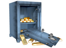 Bank Heist. Isolated illustration of a safe that has been broken into containing gold bullion Royalty Free Stock Images