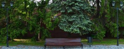 Bank in het de lentepark met twee straatlantaarns, pijnbomen en rode br Stock Foto