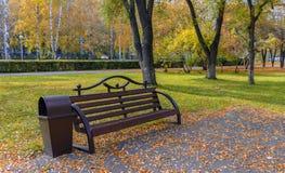 Bank in het park in de de herfstmiddag Royalty-vrije Stock Afbeeldingen