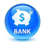 Bank (het piggy teken van de doosdollar) glazige cyaan blauwe ronde knoop Stock Foto's