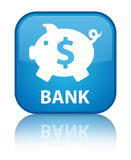 Bank (het piggy teken van de doosdollar) speciale cyaan blauwe vierkante knoop Stock Foto's