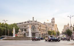 Bank Hiszpania buiding i Cibeles kwadrat w Madryt Obraz Royalty Free