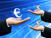 Bank hold Euro money for exchange Royalty Free Stock Photos