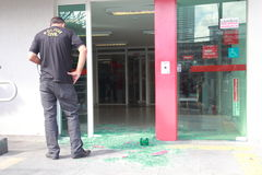 Bank hold-up. Scene of crime after an bank hold-up at the santander bank Stock Image