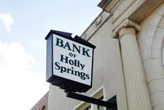 Bank of Holly Springs, MS. The Bank of Holly Spring, located in downtown Holly Spring, Mississippi Stock Photography