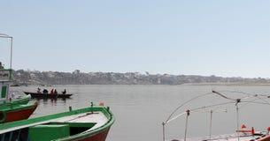 Bank of holy river Ganga in Banaras royalty free stock photo