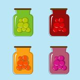 Bank with home canned fruit juice. Vector design Stock Image