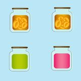 Bank with home canned peaches. Vector design Stock Photos