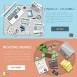 Bank Horizontal Banner Set. With financial exchange monetary savings elements isolated vector illustration Royalty Free Stock Photo