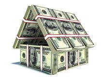 Bank. House from pack of dollar Stock Photos