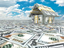 Bank. House from pack of dollar on cloudscape. Royalty Free Stock Photography