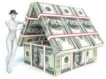 Bank. House from pack of dollar. 3d man Royalty Free Stock Photos
