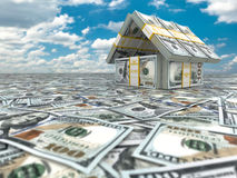 Bank. House from pack of dollars on cloudscape. Stock Photo