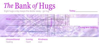 The Bank of Hugs Concept. A blank cheque branded The Bank of Hugs with Give Receive, Today, caring and sharing, unconditional loving kindness, healing heart and vector illustration