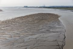 Bank i flodSeine den near hamnen av Le Havre, Frankrike Arkivbilder