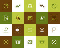 Bank i pieniężne ikony Mieszkanie styl ilustracja wektor